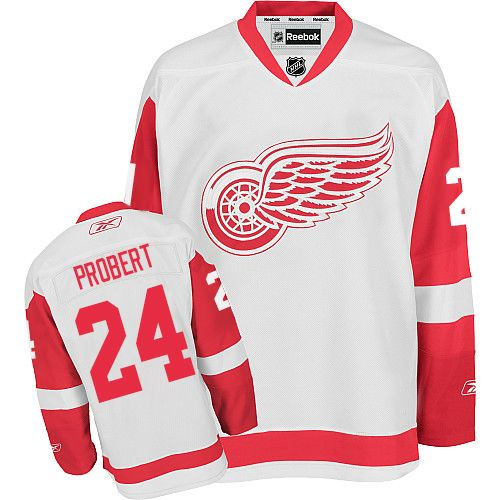 Authentic Reebok Men's Bob Probert White Away Jersey - NHL #24 Detroit Red Wings