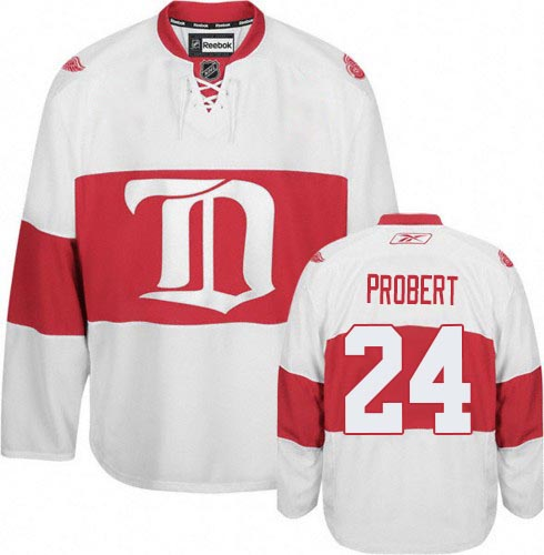 Authentic Reebok Men's Bob Probert White Third Jersey - NHL #24 Detroit Red Wings Winter Classic