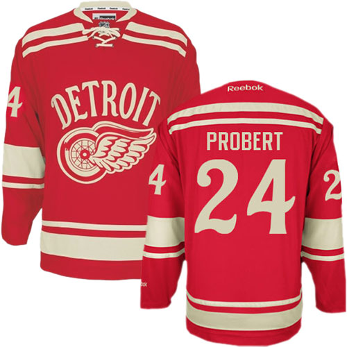 Authentic Reebok Men's Bob Probert Red Jersey - NHL #24 Detroit Red Wings 2014 Winter Classic