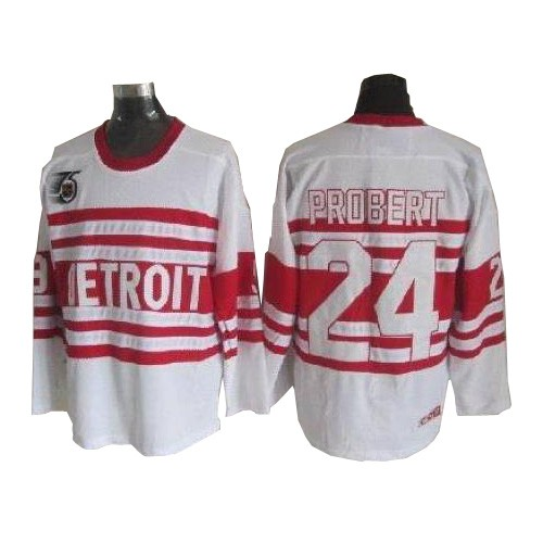 Authentic CCM Men's Bob Probert White Jersey - NHL #24 Detroit Red Wings Throwback
