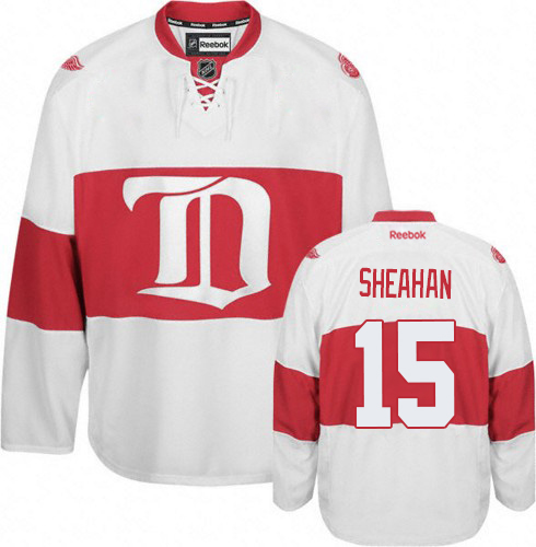 Men's Reebok Riley Sheahan Premier White Third NHL Jersey: Detroit Red Wings #15 Winter Classic