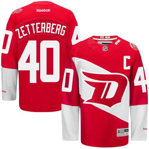 Men's Reebok Henrik Zetterberg Premier Red NHL Jersey: Detroit Red Wings #40 2016 Stadium Series